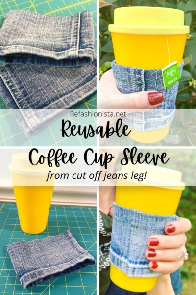 Reusable Coffee Cup Sleeve (from a Cut Off Pant Leg!) pin 1