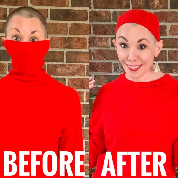 refashionista Turtleneck to Crew Neck Sweater Refashion before and after