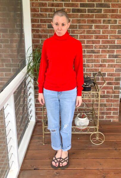 Turtleneck to Crew Neck Sweater Refashion pin 10