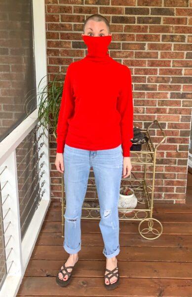Turtleneck to Crew Neck Sweater Refashion pin 11