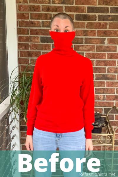 Turtleneck to Crew Neck Sweater Refashion Pin 2