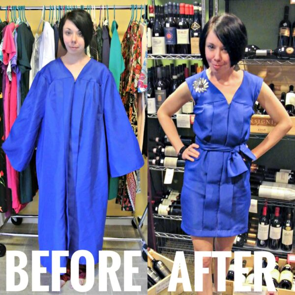 What to do with an Old Graduation Gown featured image before and after