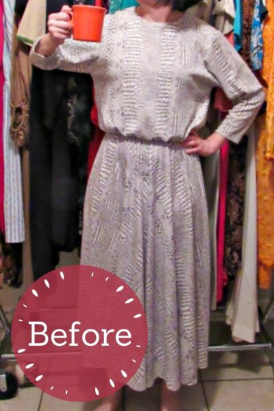 No-Sew Coffee Date Dress-to-Top Refashion Pin 4