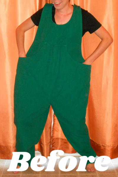 Maternity Overalls to Dress Refashion Pin 2