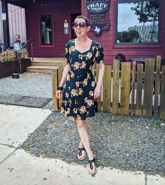 refashionista Back in Austin: Brown Spring Floral Dress Refashion after 2