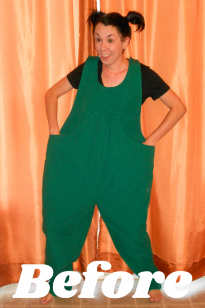 Maternity Overalls to Dress Refashion Pin 3