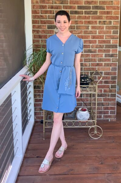 '40s-ish(?) Dress Refashion with Repurposed Sleeve Sash after 2