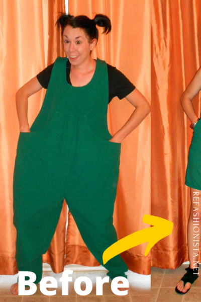 Maternity Overalls to Dress Refashion Pin 1