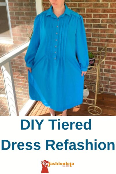 DIY Tiered Dress Refashion Pin 1
