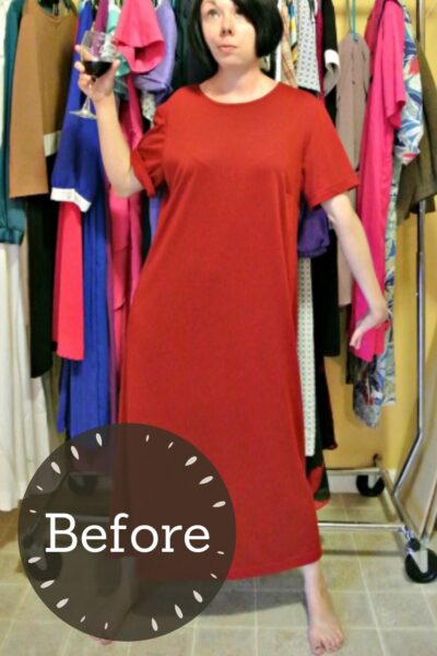 Off-the-Shoulder No-Sew Dress Refashion pin 3