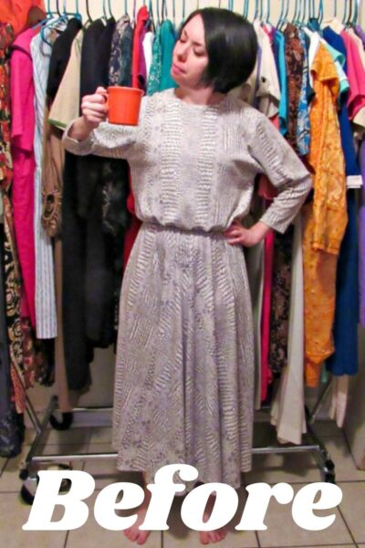 No-Sew Coffee Date Dress-to-Top Refashion Pin 5