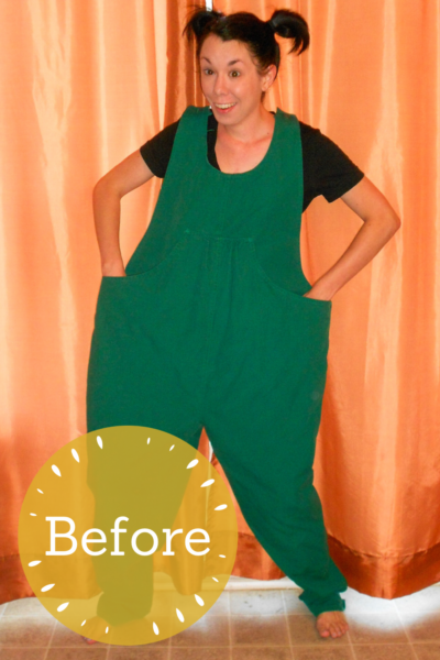 Maternity Overalls to Dress Refashion Pin 4