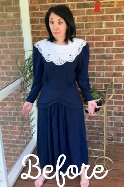 '90s Thrift Store Dress to Top Refashion Pin 2