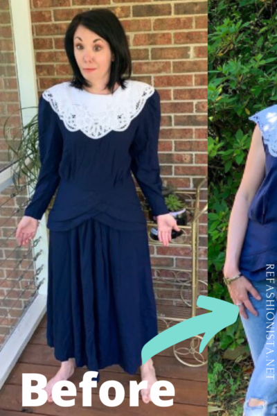 '90s Thrift Store Dress to Top Refashion Pin 3