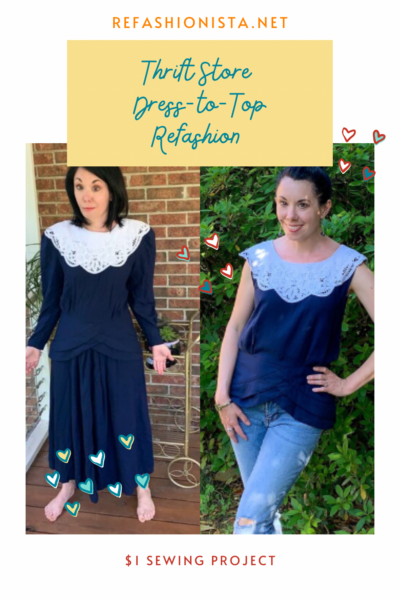 '90s Thrift Store Dress to Top Refashion Pin 4