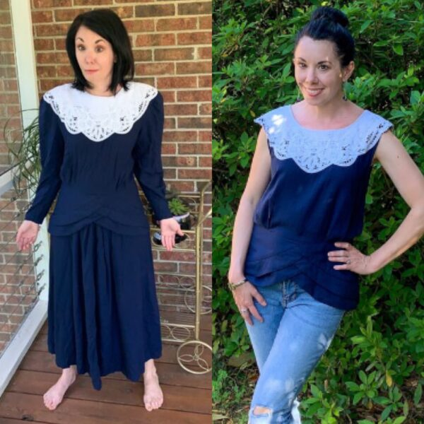 '90s Thrift Store Dress to Top Refashion Pin 5