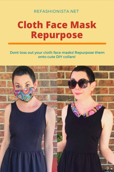 Refashionista Repurposed Cloth Face Mask Dress Collar Pin 3