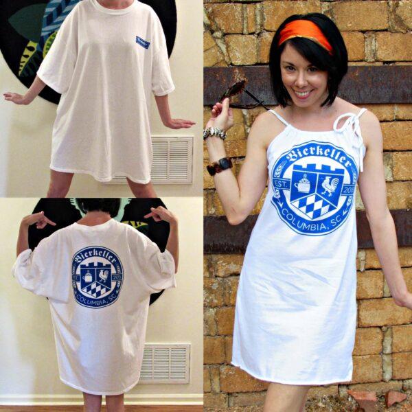 Refashionista T-shirt to Drawstring Halter Dress Refashion Pin 5
