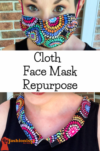 Refashionista Repurposed Cloth Face Mask Dress Collar Pin 2