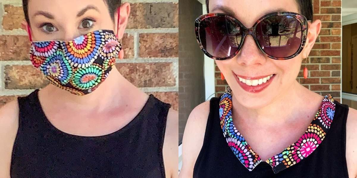 cloth face mask repurposed to dress collar