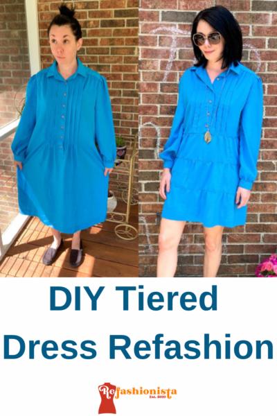 DIY Tiered Dress Refashion Pin 2
