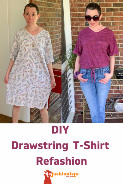 DIY Drawstring T-shirt from Nightgown Pin 3