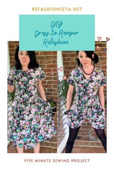 DIY Dress to Romper Refashion Pin 3