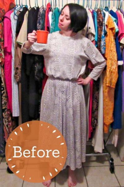 No-Sew Coffee Date Dress-to-Top Refashion Pin 3