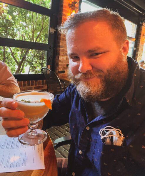 Mr. Refashionista with cocktail