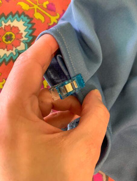 clipped bottom of folded sleeve