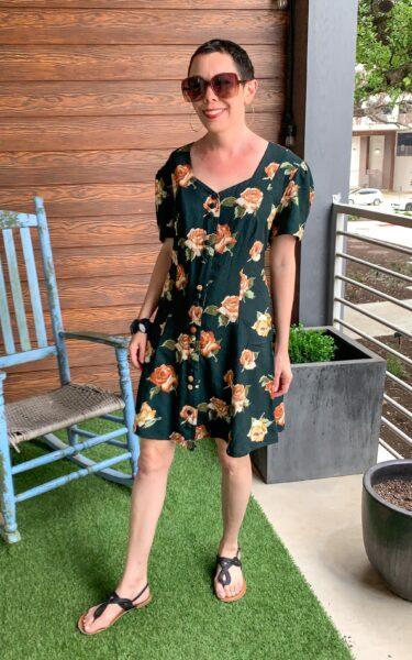 refashionista Back in Austin: Brown Spring Floral Dress Refashion after