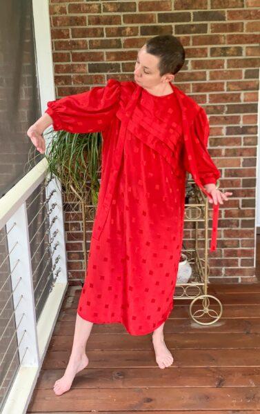 refashionista '80s Dress to One Shoulder Dress Refashion before 2