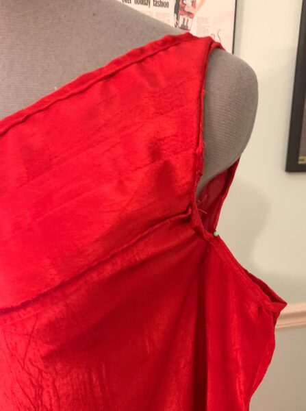pinned armpit of dress on dress form
