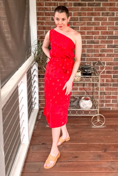 refashionista '80s Dress to One Shoulder Dress Refashion after without sunglasses