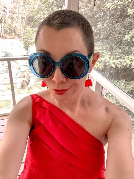 refashionista '80s Dress to One Shoulder Dress Refashion after selfie