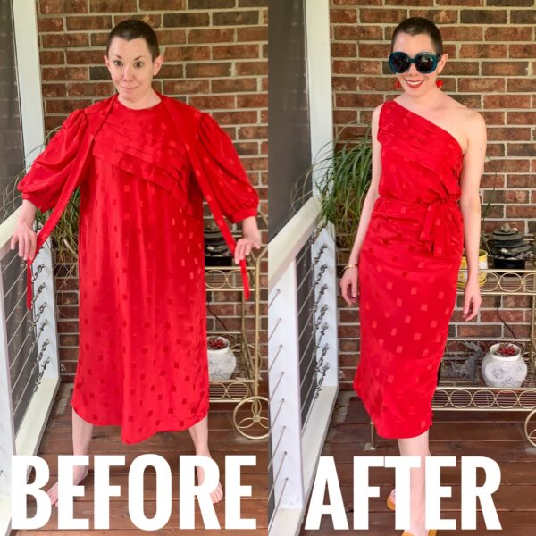 refashionista '80s Dress to One Shoulder Dress Refashion before and after
