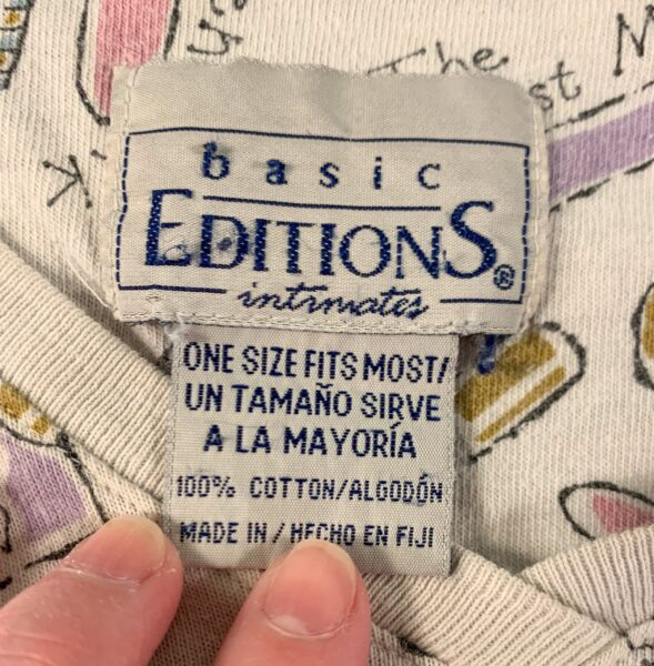 closeup of fabric label
