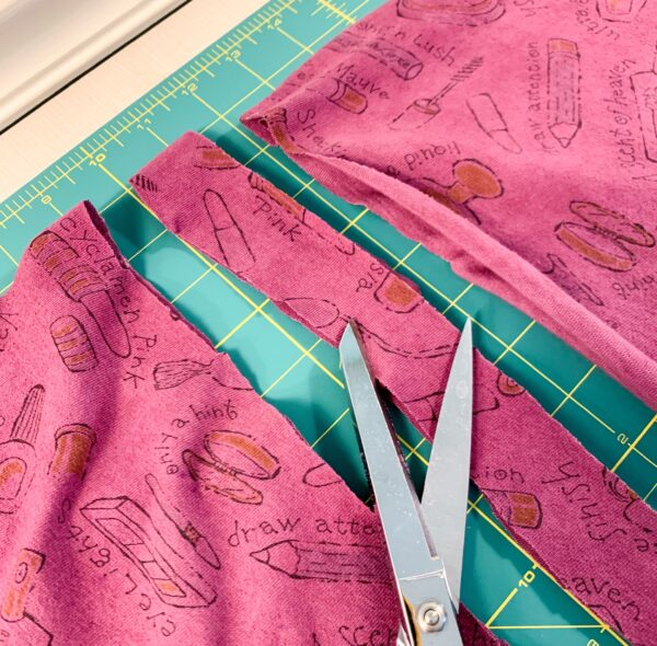 cutting drawstring out of bottom piece