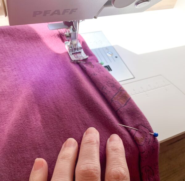 sewing hem on shirt