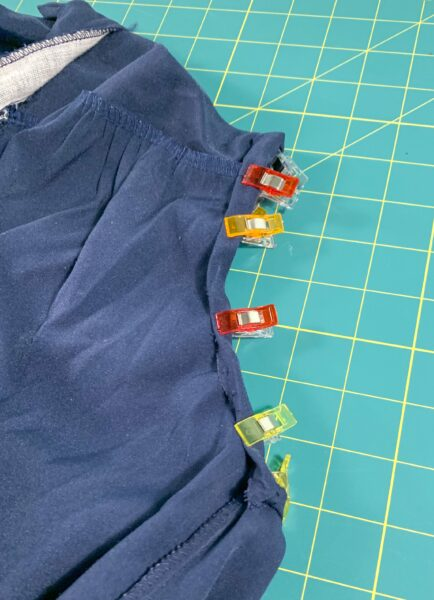 Clipping armhole into place