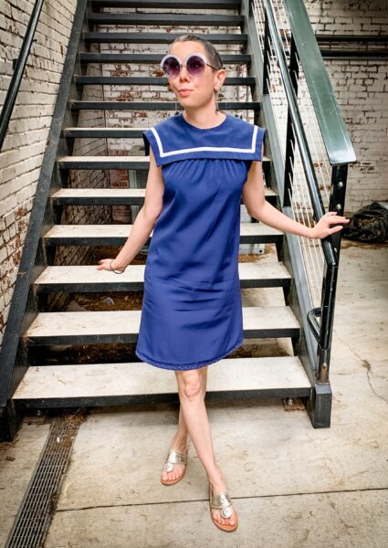 Sailor Collar Maternity Dress Refashion in front of stairs