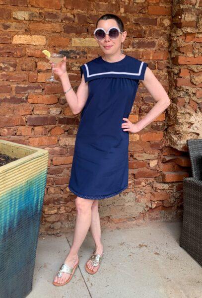refashionista Sailor Collar Maternity Dress Refashion after