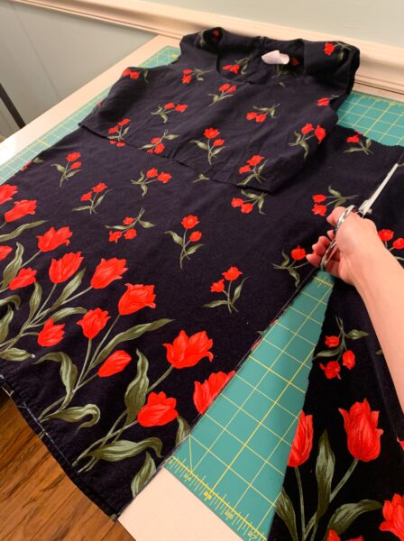 cutting up side of dress