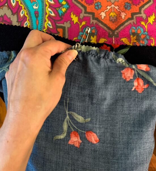 pinning top and bottom of dress together