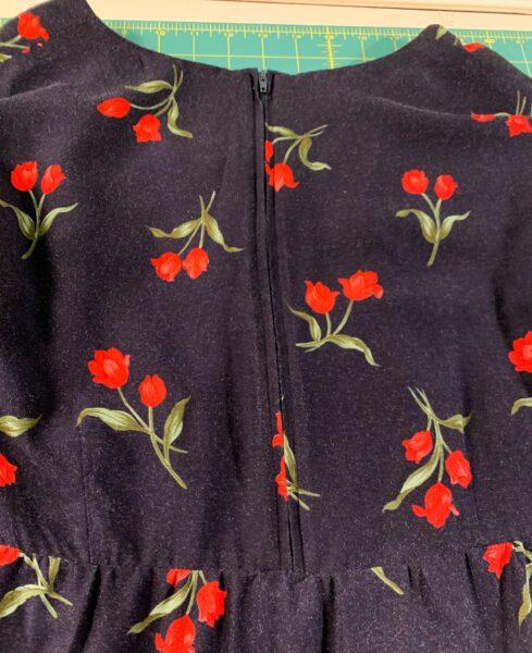 closeup of back zipper