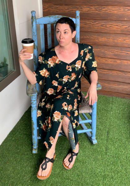 jillian in before dress in rocking chair