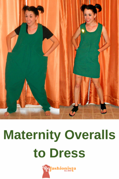 Maternity Overalls to Dress Refashion Pin 5
