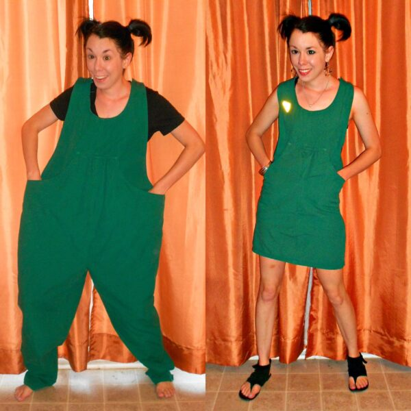 Maternity Overalls to Dress Refashion Pin 6