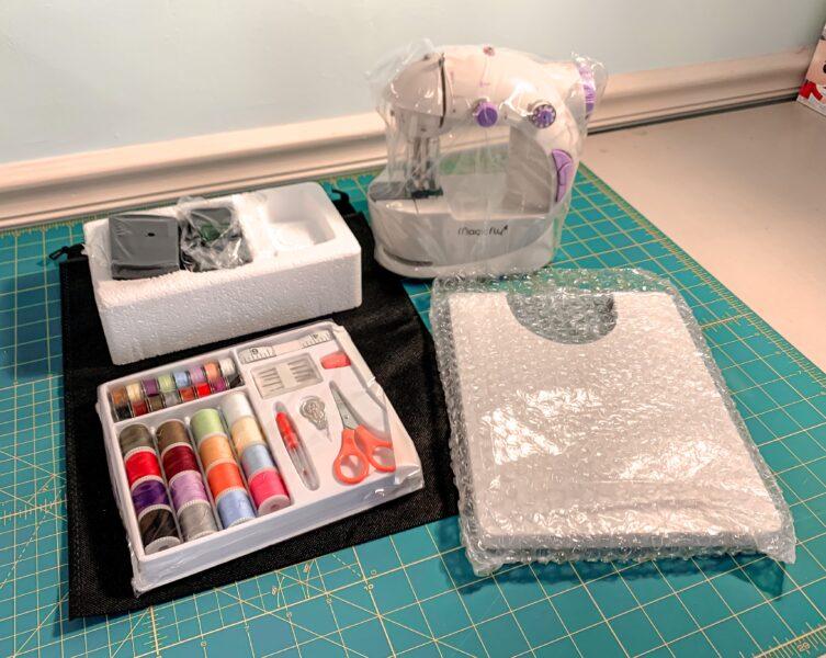 mini sewing machine unboxed