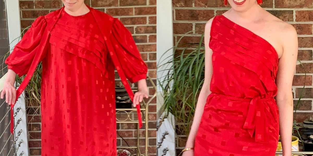 '80s Dress to One Shoulder Dress Refashion featured image